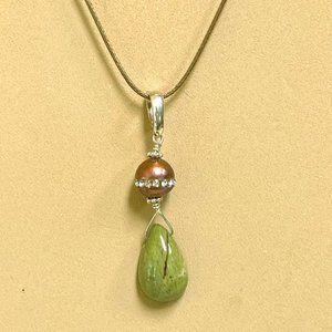 Epidote and pearl enhancer, sterling silver
